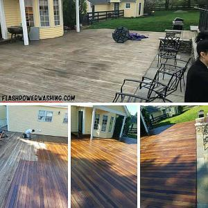 Before and After Soft Washing and Oil Staining